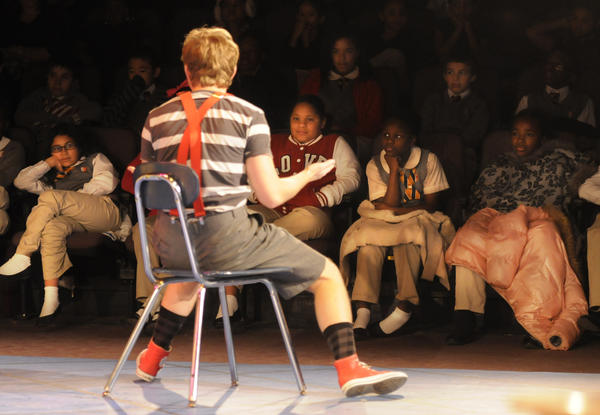 "Elementary school students watch actors perform ""Miss Nelson is Missing"" at the Playhouse on Park theater in West Hartford."
