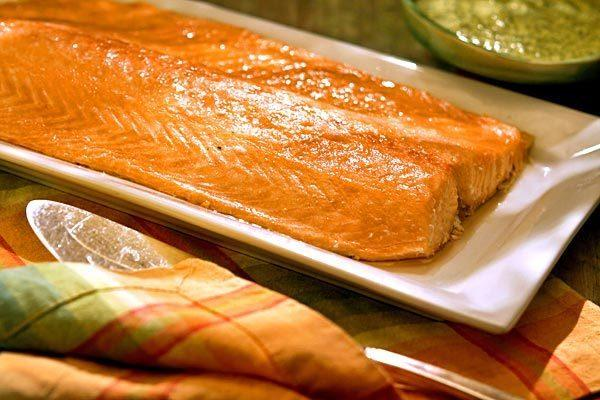 Oven-steamed salmon with dill mayonnaise.