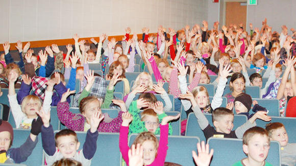 An enthusiastic audience of students from South Maple and North Ohio elementary schools greeted the band Gemini at the Gornick Auditorium Wednesday.