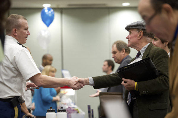 Applicants at a job fair in Concord, Calif.