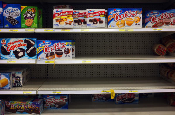 Hostess Twinkies are sold out in a grocery store in Willowbrook.