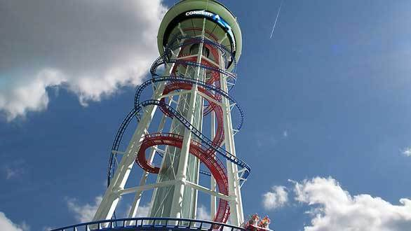 S&S International has teamed up with U.S. Thrill Rides for a pair of observation towers with a twist. The Polercoaster features coaster trains and the Skyspire incorporates Ferris wheel gondolas that spiral around the tower.