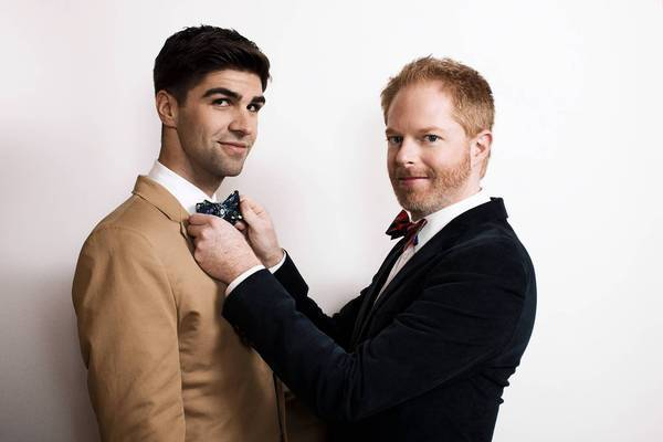 Actor Jesse Tyler Ferguson, right, and partner Justin Mikita launched their Tie the Knot line through the Tie Bar.