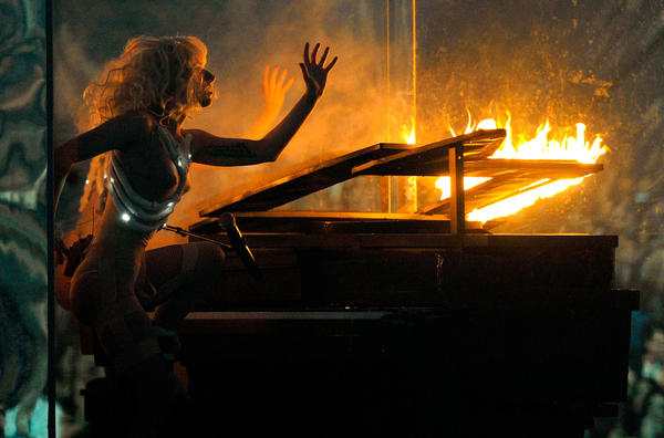 Lady Gaga sets the stage on fire at the 2009 American Music Awards.