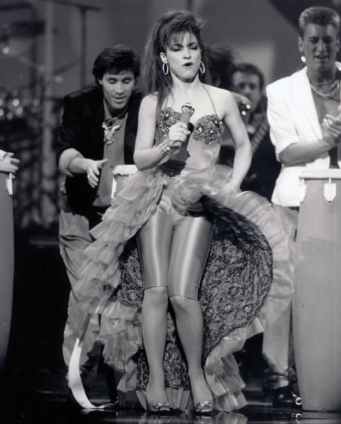 Gloria Estefan performs a medley at the 1988 American Music Awards.