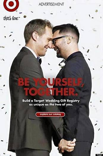 Target ad for its wedding registry service features two grooms.
