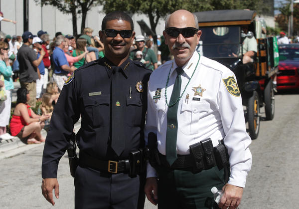 Police Chief Frank Adderley and departing Sheriff Al Lamberti. (Photo courtesy Art Seitz)