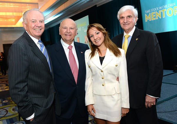 "Mike Jackson, left, Wayne Huizenga, Nova Pathway Scholar student Paola Barrera and Dr. George L. Hanbury at Take Stock in Children of Broward County's sixth annual ""Mentors are Magic"" luncheon, which took place Oct. 17 at Pier 66 and raised $70,000."