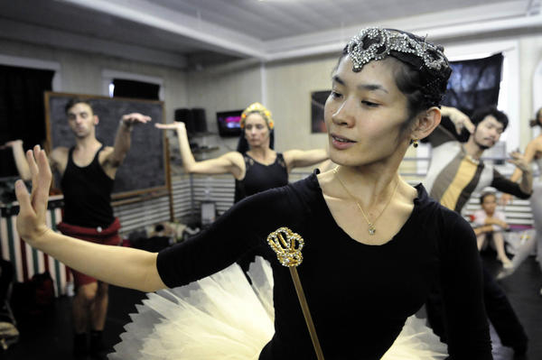 Ritsuko Sato, a dancer from Japan, rehearses her role as the Sugar Plum Fairy.