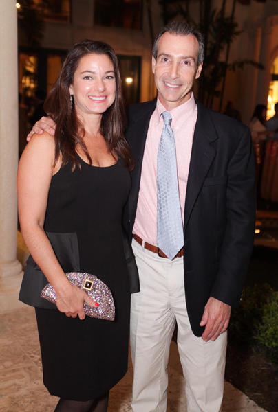 "Annie Falk, left, and Michael Falk at the Children's Home Society of Florida's ""Supper By The Bite,"" which took place Nov. 5 at the Palm Beach home of Jim and Dot Patterson."