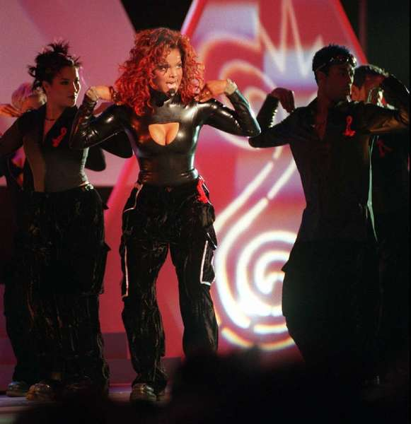 "Janet Jackson opens the 1998 AMAs with her hit ""Together Again."""