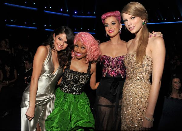 Selena Gomez, Nicki Minaj, Katy Perry and Taylor Swift are all smiles at the 2011 AMAs.