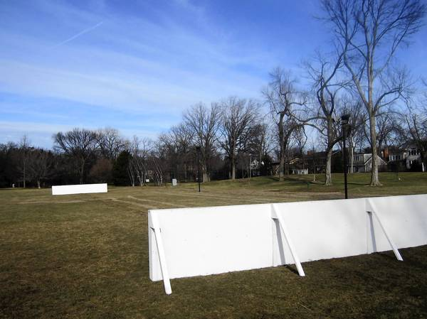 Last year, the temperature never got consistently cold enough for a controversial new outdoor hockey rink at Thornwood Park, where end-boards sat for much of the winter in a green field, as pictured here Jan. 6, 2012.