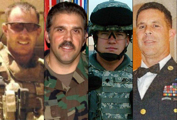 Those killed Thursday when a train collided with a trailer were, from left, Sgt. Maj. Gary Stouffer, 37; Sgt. Maj. Lawrence Boivin, 47; Army Sgt. Joshua Michael, 34; and Sgt. Maj. William Lubbers, 43,