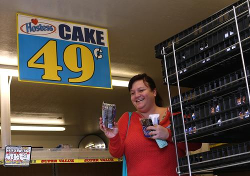 A customer shops for Hostess products at a Wonder/Hostess Bakery Outlet on  in San Leandro, Calif.