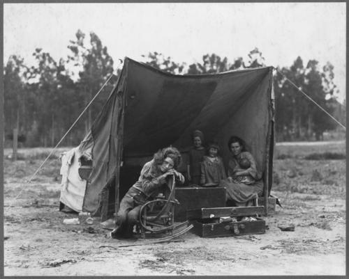 FSA photographer Dorothea Lange came across Florence Thompson and her children in a pea pickers' camp in Nipomo, Calif., in March 1936.  During the decade of the Great Depression, California's population grew by more than 20%, an increase of 1.3 million people. More than half of the newcomers came from cities, not farms; one in six were professionals or white collar workers. Of the 315,000 who arrived from Oklahoma, Texas and neighboring states, only 16,000 were from the Dust Bowl itself. But regardless of where they actually came from, regardless of their skills and their education and their individual reasons for seeking a new life in a new place, to most Californians -- and to the nation at large -- they were all the same. And they all had the same name: Okies.