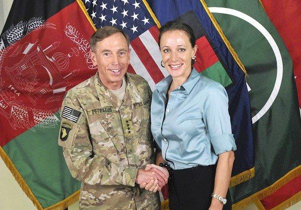 This July 13, 2011, photo shows Gen. David H. Petraeus with Paula Broadwell, co-author of his biography.