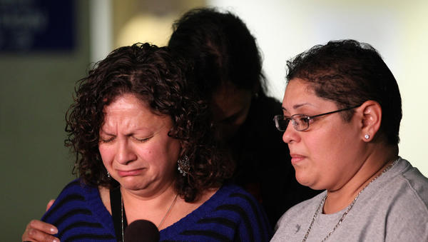 Maria Velez, left, mother of Fausto Manzera, describes her disappointment in the sentencing of Joseph Frugoli, the former Chicago police officer that killed her son and Andrew Cazares on the Dan Ryan Expressway, while driving intoxicated.
