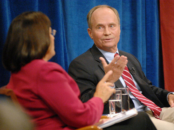 New Hampshire Republican Congressman Charles Bass, right, is seen debating Democrat Ann McLane Kuster for the 2nd Congressional District seat on Sept. 18. Bass is among the moderate Republicans who were not reelected on Nov. 6.