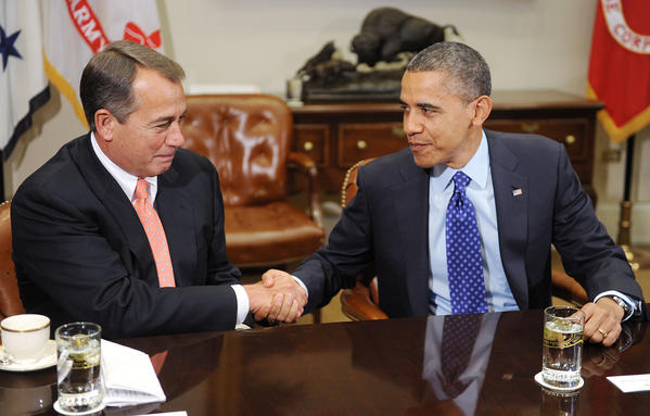 President Barack Obama shakes hands with Speaker of the House John Boehner during a meeting with a bipartisan group of congressional leaders at the White House in Washington, D.C.