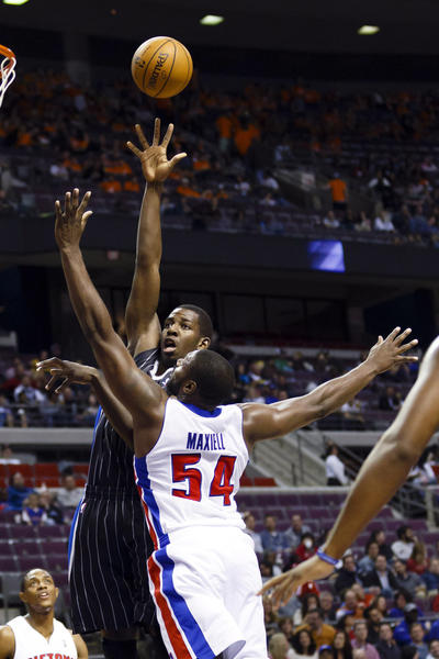 Orlando Magic power forward Andrew Nicholson (44) shoots the ball over Detroit Pistons power forward Jason Maxiell (54) in the second quarter at The Palace.