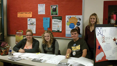 North Star students assist in collecting ballots for the mock election. From left: Haley Smith, Hannah Yoder, Cole McGunigale and Alexandra McCartney.