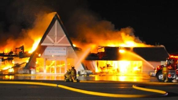 Crews from three counties battled the fire at Alpine Cleaners and Laundromat for eight hours on Saturday morning.