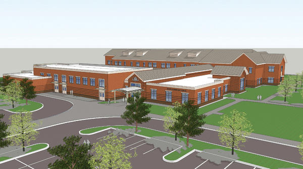 A rendering of the new Bester Elementary School, which shows a two-story classroom section along the south side of the property, near East Memorial Boulevard. A large single-story section on the front, or north, side of the school houses a community gymnasium, the cafeteria, an instructional resource center, the administrative area, and art and music classrooms.
