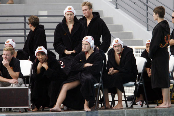 La Canada's water polo team react after losing the CIF Southern Section Division III championship match against Martin Luther King, which took place at William Woollett Jr. Aquatic Center in Irvine on Saturday, November 17, 2012.