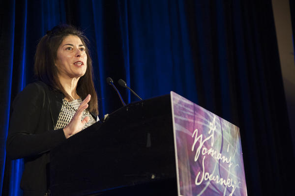 Dr. Laura Herrera, keynote speaker for the A Woman's Journey Health Conference sponsored by Johns Hopkins Medicine, told the audience about her experience as a doctor in the Army Reserve and her concerns about women's health in the military.