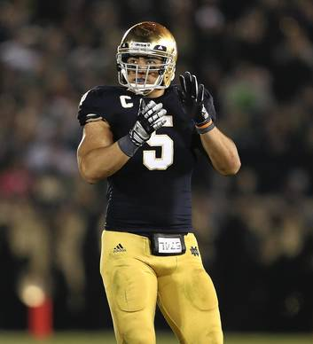 Linebacker Manti Te'o during the second half of his team's 38-0 win over Wake Forest.