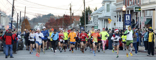 The start of the JFK 50 Mile ultramarathon on Saturday morning at 7 a.m. on the Main Street of Boonsboro.
