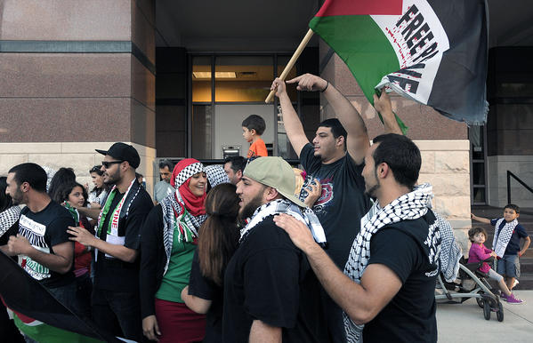 Over 100 people gathered at Broward Blvd and SE 3rd Ave, in Fort Lauderdale, to show their support for Palestine.