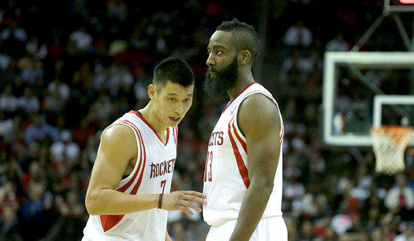 Houston's Jeremy Lin and James Harden react to a call against the Miami Heat.