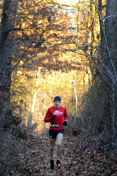 Lead man Max King on the Appalachian Trail near Reno Monument Road in Boonsboro during the 2012 JFK 50 Mile Run.