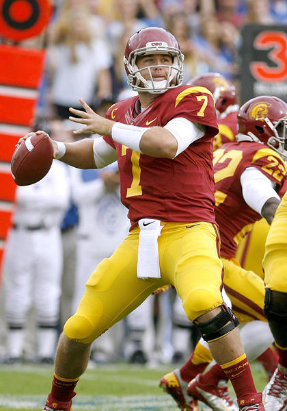 USC QB Matt Barkley looks to throw during game vs. UCLA at the Rose Bowl in Pasadena on Saturday, November 17, 2012.