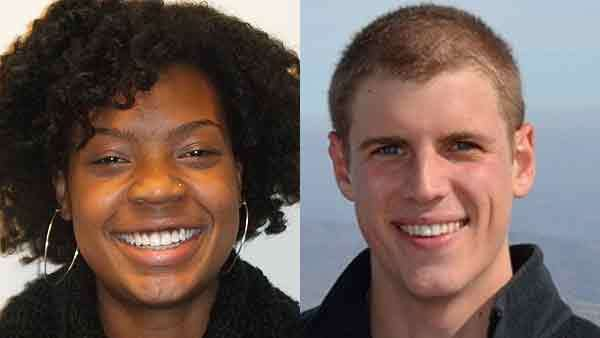 Rhiana Gunn-Wright of Oak Lawn and Benjamin Wilcox from Winnetka (from left) both won Rhodes Scholarships.