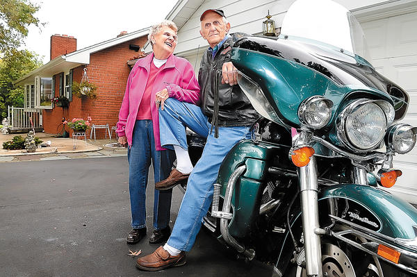 Cavetown couple Lucille and Basil Harne who celebrated their 64th wedding anniversary recently have logged many miles on motorcycle.