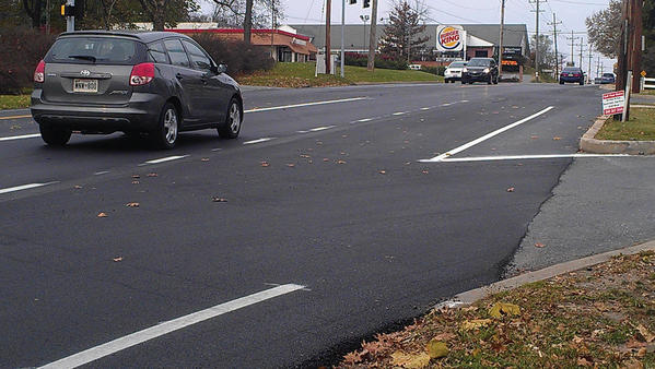 The Maryland State Highway Administration recently resurfaced this intersection at Pennsylvania and Northern avenues in Hagerstown, as seen in this photograph taken Wednesday. Temporarily, the road was marked to allow two lanes continuing north through the intersection, even though there was supposed to be just one. The discrepancy was fixed Friday, according to the SHA.