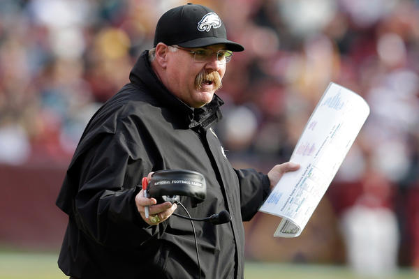 Head coach Andy Reid of the Philadelphia Eagles yells at an official during the first half against the Washington Redskins at FedEx Field on November 18, 2012 in Washington, DC.