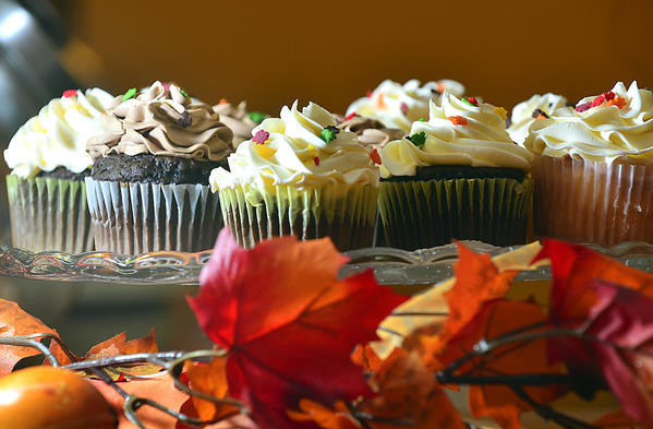 Icing Bakery & Cafe in Boonsboro offers cupcakes decorated with sprinkles in the shape of fall leaves along with other baked goods for Thanksgiving.