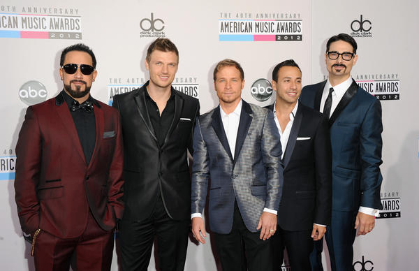 From left to right, Singers A.J. McLean, Nick Carter, Brian Littrell, Howie Dorough and Kevin Richardson of Backstreet Boys at the 40th American Music Awards.