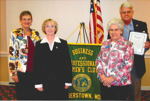 Attending the recent National Business Women's Week celebration at Hager Hall Conference & Event Center are, from left, Granis Dixon, president of the Hagerstown Business & Professional Women's Club; Ruth Anne Callaham, Washington County commissioner; Rosalie Ridenour, chairwoman of the National Business Women's Week program for the Hagerstown Business & Professional Women's Club; and Martin Brubaker, Hagerstown City councilman.