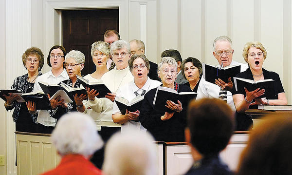 "Choir sings ""Thanks to Thee, O Lord"" Sunday at a service held by The Waynesboro Area Fellowship of Churches at the Presbyterian Church of Waynesboro."