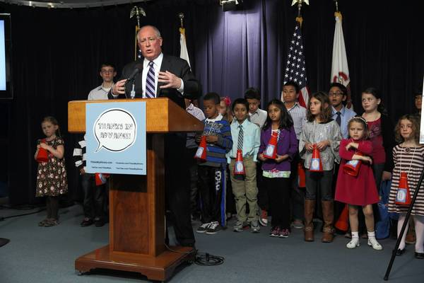 Gov. Pat Quinn, surrounded by children to represent the future of Illinois, announces a new website, www.thisismyliinois.com, to educate the public on pension reform during a news conference Sunday at the Thompson Center in Chicago.