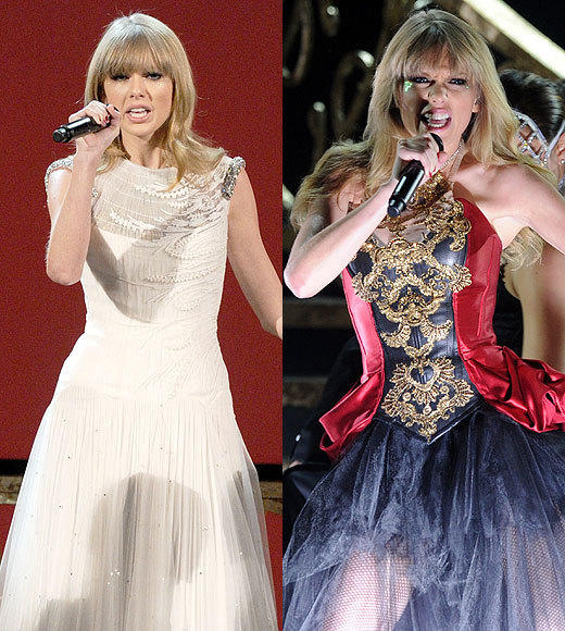 American Music Awards 2012: Best and worst moments: Taylor Swift switched things up for a performance of her dubstep-inspired I Knew You Were Trouble (were pretty sure it was written about John Mayer). When she ripped off her sparkly dress to reveal a red room of pain corset and angry-90s-teen combat boots, though, she just made us sort of uncomfortable. She can go back to singing about crying at marching band practice any time now.   -- Carina Adly MacKenzie, Zap2it