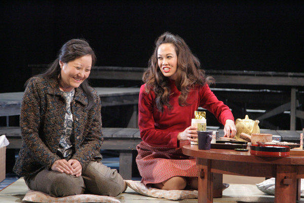 Janet Song, left, and Jennie Kwan in 'Tea, With Music' at East West Players