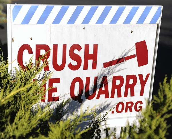 This is a sign protests the proposed Geryville Materials quarry in Lower Milford Township on West Mill Hill Road.