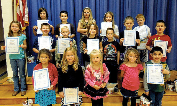 Clear Spring Elementary School hosted its first Golden Table luncheon of the school year Oct. 24. Front row, from left, Hazel Edwards, Kendal Hoover, Julia Kehne, Nyomie Greer and Bryce Swain. Second row, Madelyn Porter, Tanner Miller, Chris Burleson, Sarah Lulciuc, Colt Dunn, Rylee Burrill and Ray Robertson. Back row, Emileigh Kelley, Cole Mills, Madeline Moats, Cecelia Gross and Chase Weaver. Not pictured: Jordan Mason.