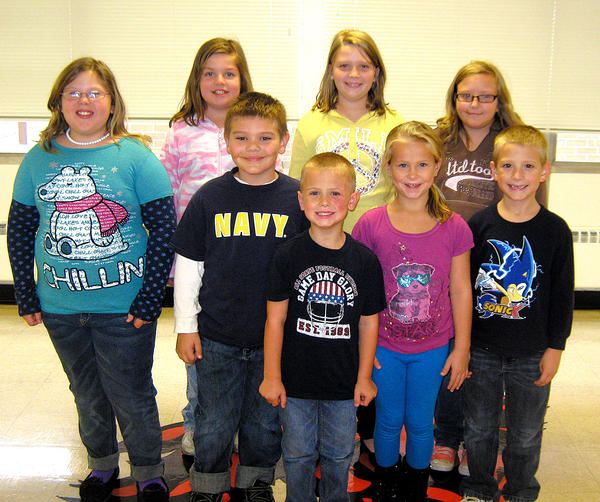 Conococheague Elementary School honored its Shining Stars with a pizza party Oct. 25. Front row, Jarren Crowder. Middle row, from left, Chevelle Hardy, Cole Vest, Addison Crowder and T.J. Robinson. Back row, Jessa Garwood, Jaleigh Blickenstaff and Madison Gouge.
